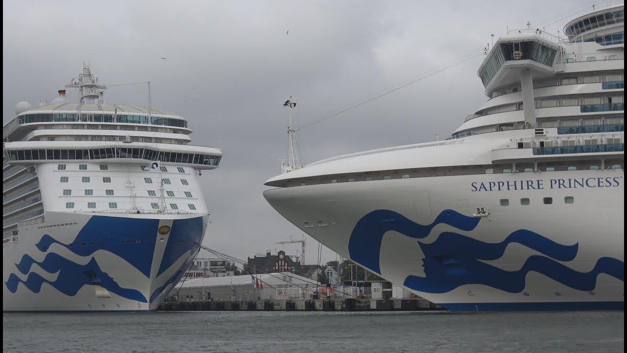 4Kᵁᴴᴰ   Princess Cruises Ship meeting at port Rostock Warnemuende