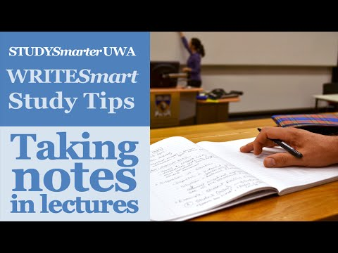 Taking notes in lectures at UWA