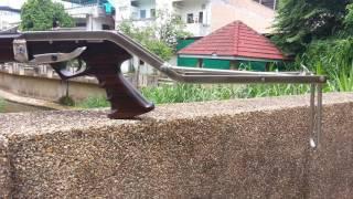 Repeat youtube video Speargun Macassar Ebony Wood ปืนยิงปลา ไม้มะริด 100 cm. ศูนย์หลังไฟเบอร์ออฟติก