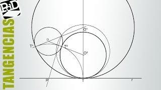 Circunferencias tangentes a otra y a una recta por un punto de tangencia (aplicando potencia).