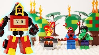Hulk And Spiderman Camp Site Accident - Go To Help Robocar Poli Roy - Fire Truck Blocks Toys