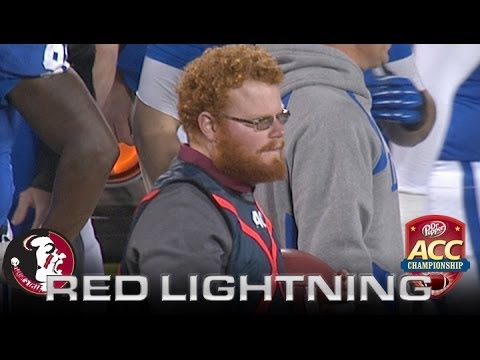 """Florida State Ballboy """"Red Lightning"""" Helps Jameis Winston After Late Hit In ACC Championship"""
