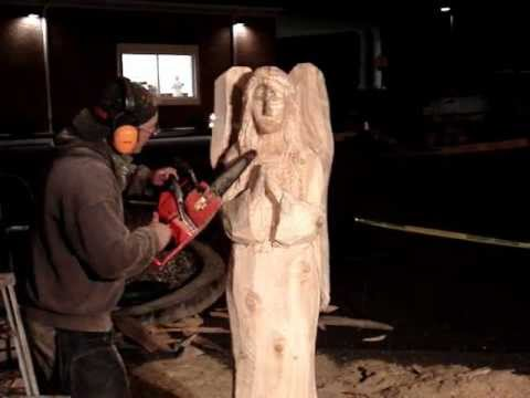 Angel wood carving with chainsaw youtube
