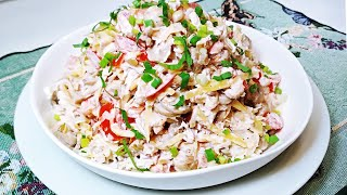 САЛАТ ГУРМАН на все случаи! Очень вкусный салат из простых продуктов который НРАВИТСЯ ВСЕМ!