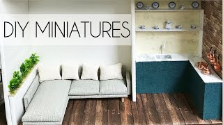 DIY miniature Dollhouse (easy craft) - bedroom, living room, kitchen, bathroom