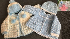 Crochet Cardigan/Two colour baby cardigan/part 1
