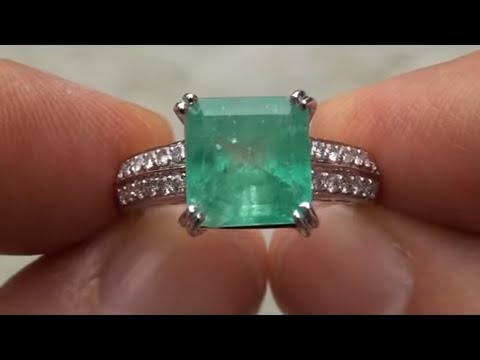 carat emerald and diamond gia estate ring cert sparkly jewelry pin
