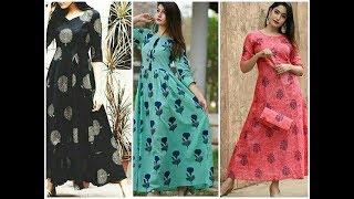 Latest  printed cotton long kurtis ||cotton maxi dress designs