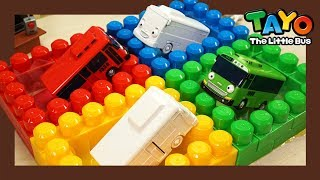Learn Colors with a Rainbow Swimming Pool l Heavy Vehicles Lego Play l Tayo the Little Bus