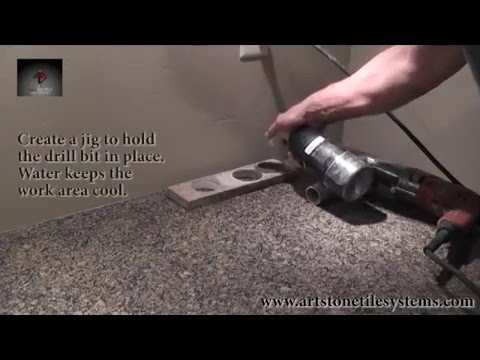 Drilling Hole In Granite Countertop Youtube