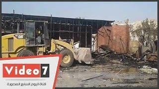 شاهد آثار حريق سوق الجمعة بالسيدة عائشة