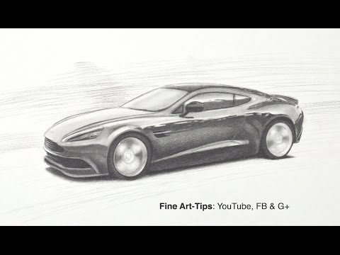 How to Draw an Aston Martin DB9 GT - Vanquish - Like James Bond's 007 Car