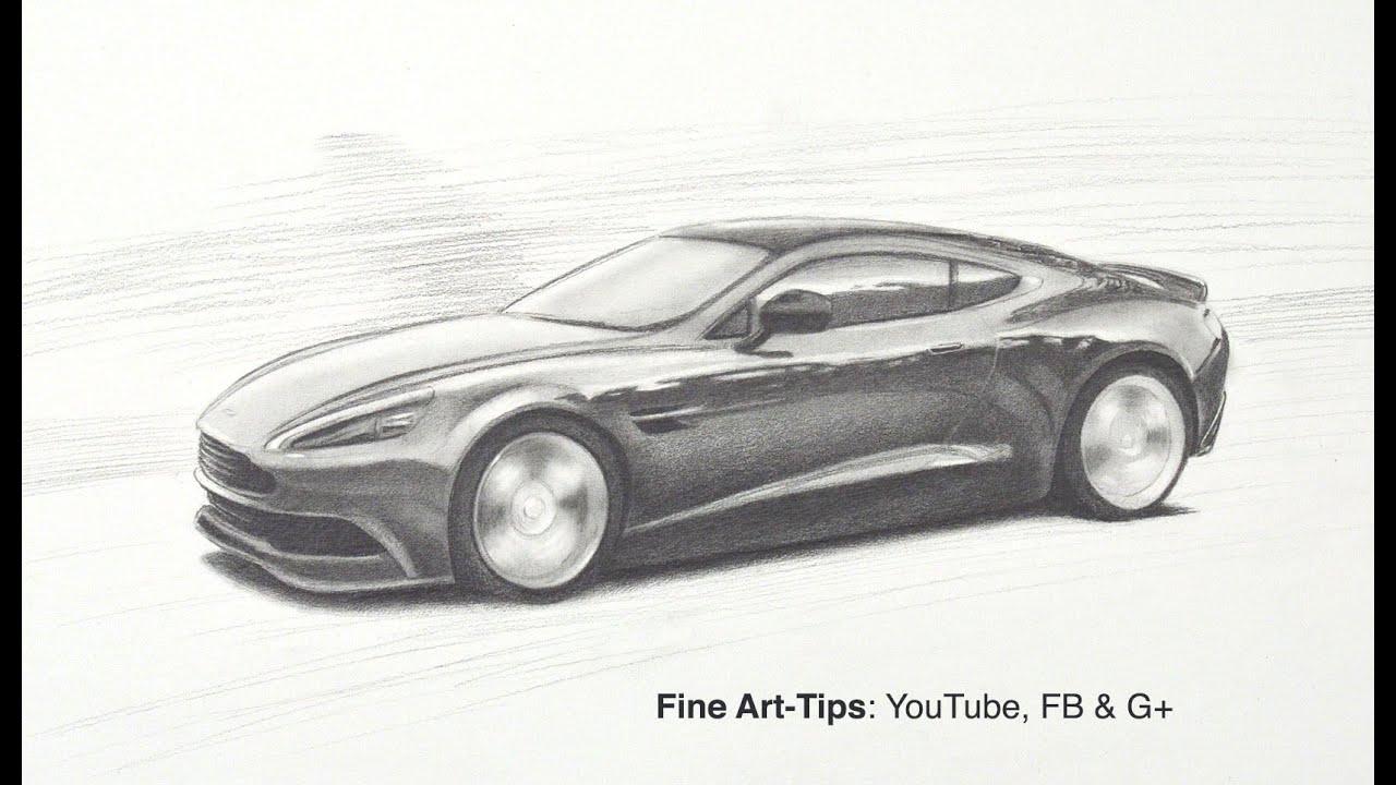 How To Draw An Aston Martin Db9 Gt Vanquish Like James Bond S 007 Car Youtube