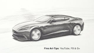 How to Draw an Aston Martin DB9 GT - Vanquish - Like James Bond