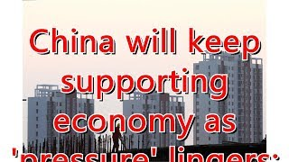 China will keep supporting economy as 'pressure' lingers: politburo