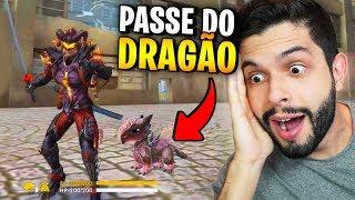 GANHEI UM DRAGÃO?!? JÁ COMPLETEI O NOVO PASSE DO FREE FIRE!!!