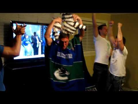 Tony G celebrating the Canucks knocking out the Black Hawks