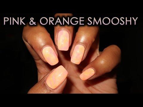 Bright Pink & Orange Smooshy Marble   DIY Nail Art Tutorial thumbnail