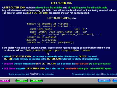 SQL 120 JOIN, LEFT OUTER JOIN