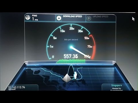 557 Mbps Download Speed of Microsoft Server Speed Test