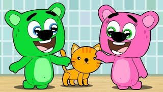 Mega Gummy Bear Baby Put Little Poor Cat into Washing Machine! Full Episodes Cartoon Animation