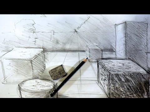 tutorial zeichnen lernen 1 fluchtpunkt perspektive doovi. Black Bedroom Furniture Sets. Home Design Ideas