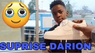 HAVING A MCDONALD'S EMPLOYEE SURPRISE DARION WITH SOME NEW AIR FORCE ONES FROM ME