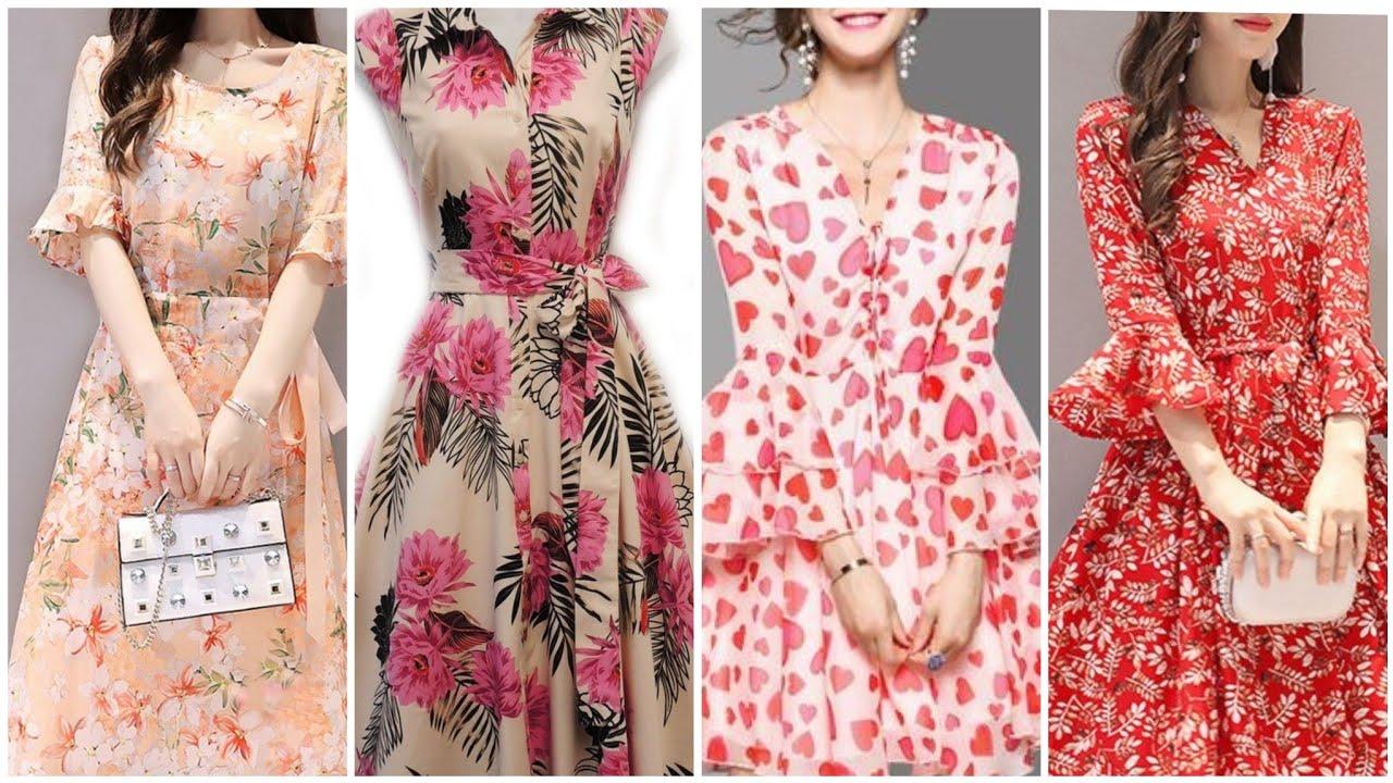 Modern Style Floral Print Chiffon Fabric Frill Style Middi Dress