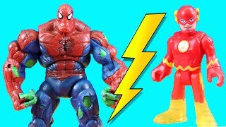 Imaginext Flash Speedster Battles Ultimate Ultron For Speed +  New Spider Hulk Spider-Man Toy