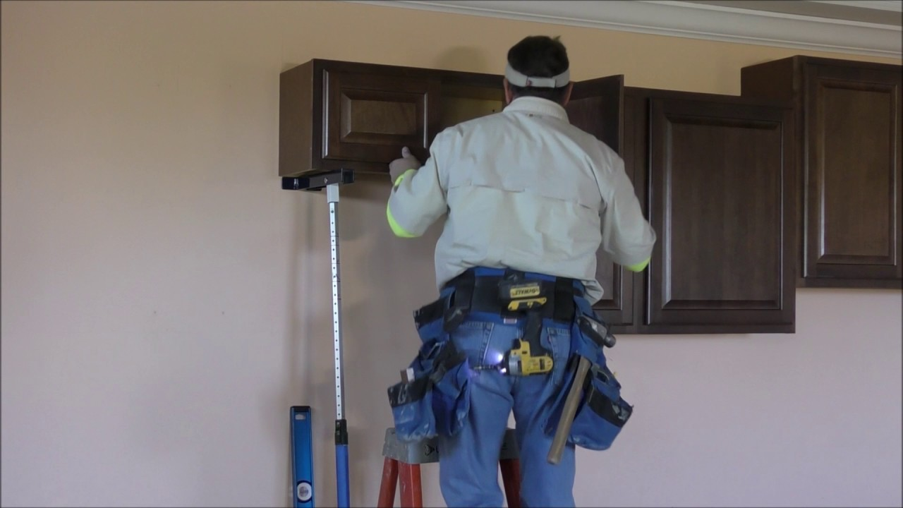 How to install kitchen wall cabinets and Crown Moldings with the Pinch Prop cabinet jacks  YouTube