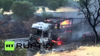 Turkey: Trucks BURN as PKK reportedly blocks roads in Erzincan