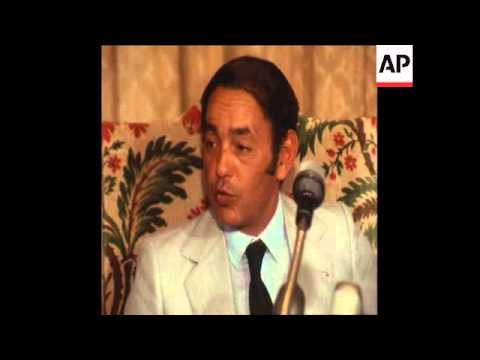 SYND 31-7-70 KING HASSAN II HOLDS PRESS CONFERENCE IN RABAT