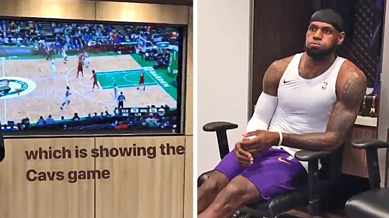 lebron-james-is-watching-the-cavaliers-game-in-the-lakers-locker-room