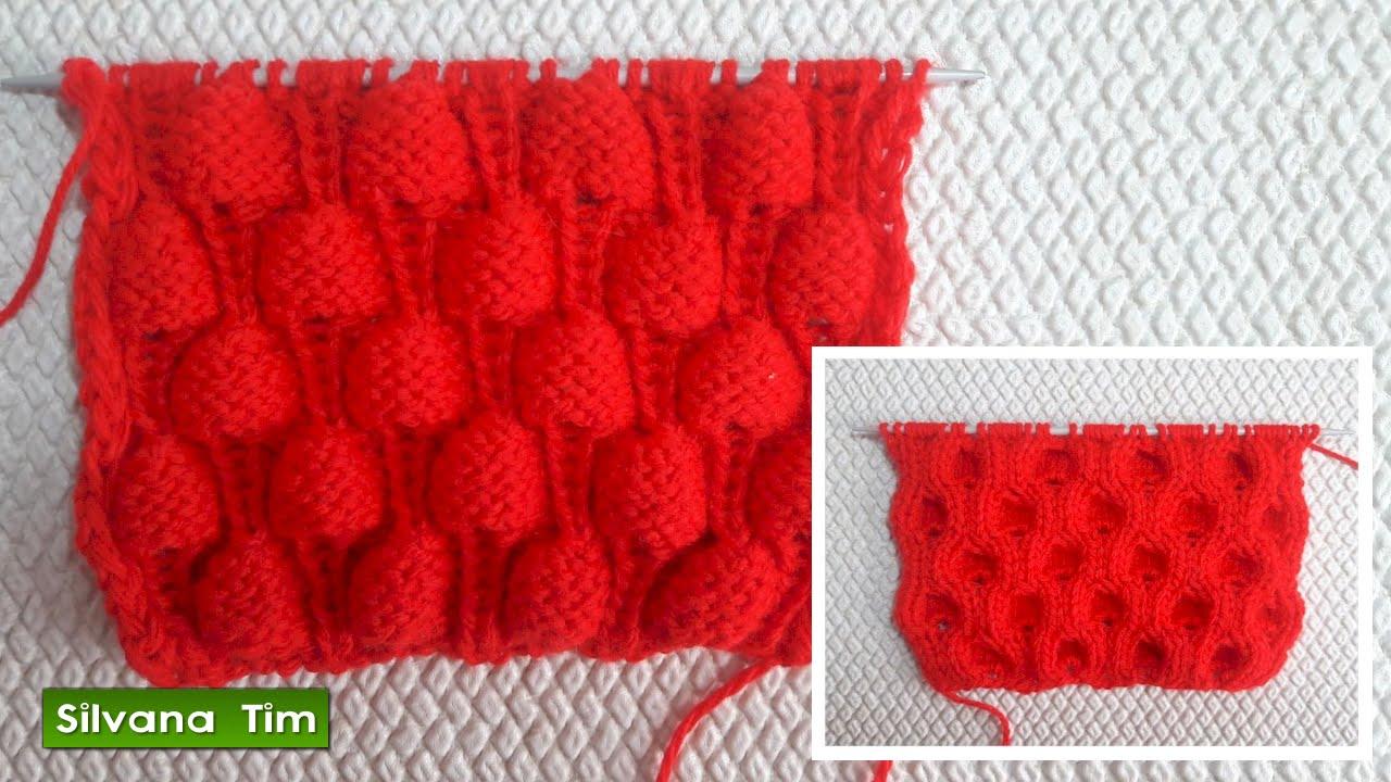 Punto puntada reversible frambuesa tejido con dos - Como hacer ochos de punto ...