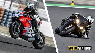 Comparatif Aprilia RSV4 1100 Factory vs Ducati Panigale V4S : Mesures, perfs, les divas au crible !
