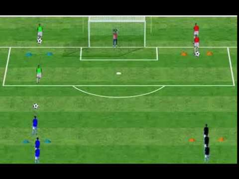 TIR 5 : Exercice devant le but - Exercise in front of the goal. - YouTube