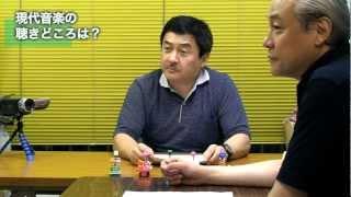 作曲家3人(松尾祐孝、佐藤昌弘、中川俊郎)がT字型のテーブルを囲んで音...
