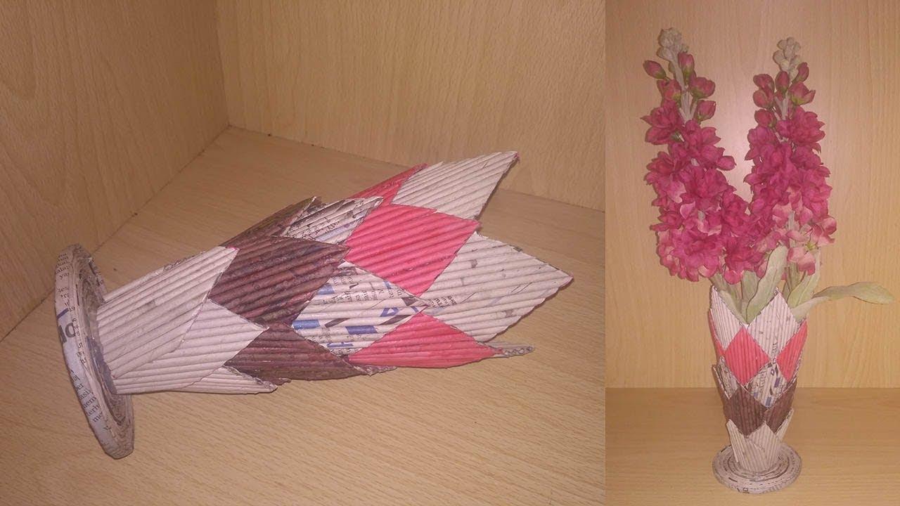 Membuat Vas Bunga Dari Koran Kreasi Dari Koran Youtube