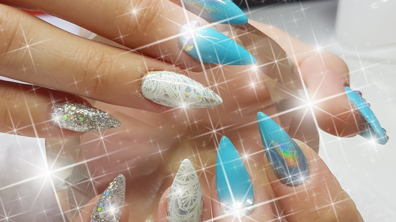 Acrylic Nails Baby Blue Inverted Stamping & Holo Nail Design - YouTube