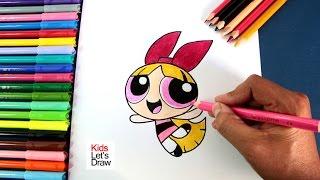 Cómo dibujar a BOMBON (Las Chicas Superpoderosas) | How to draw Blossom (The Powerpuff Girls)