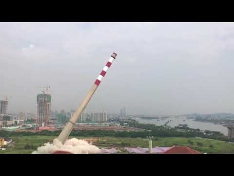 Controlled Demolition of Power Plant Chimney in Guangzhou