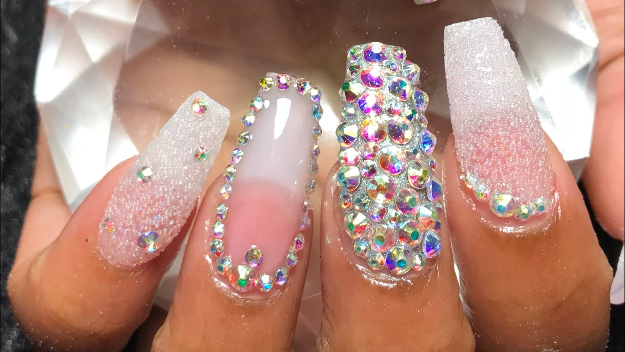 acrylic nails fullset bling