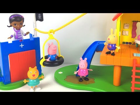 PEPPA PIG'S TREEHOUSE WITH DOC MCSTUFFINS MOBILE CLINIC - PEPPA GEORGE RICHARD CANDY CAT - STORY