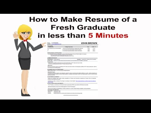 How to Make Resume of a Fresh Graduate in less than 5 Minutes