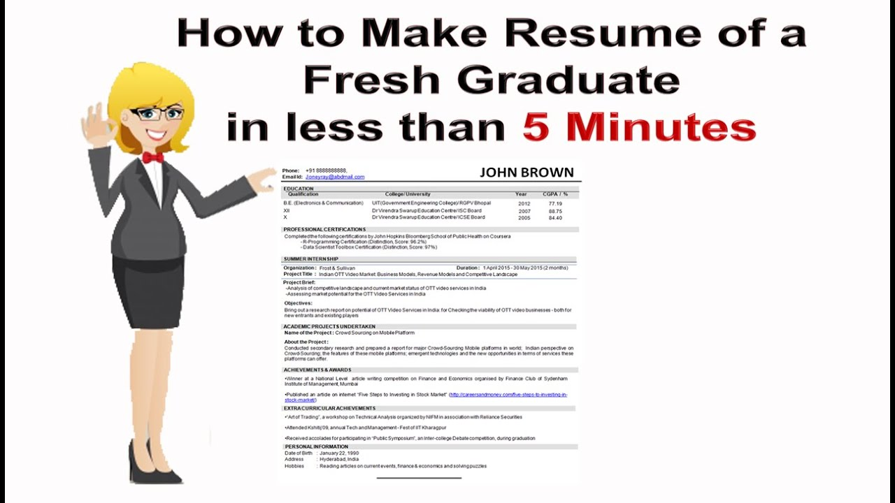 how to make resume of a fresh graduate in less than 5