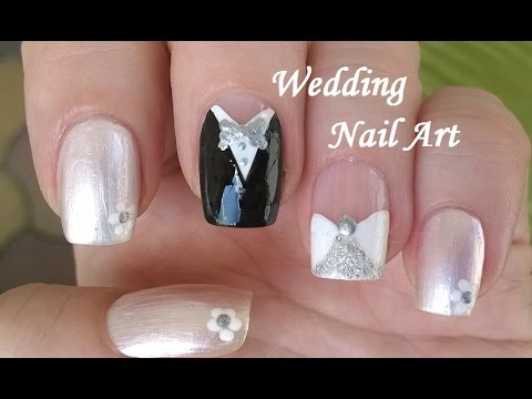 wedding nail art design diy white-black-silver