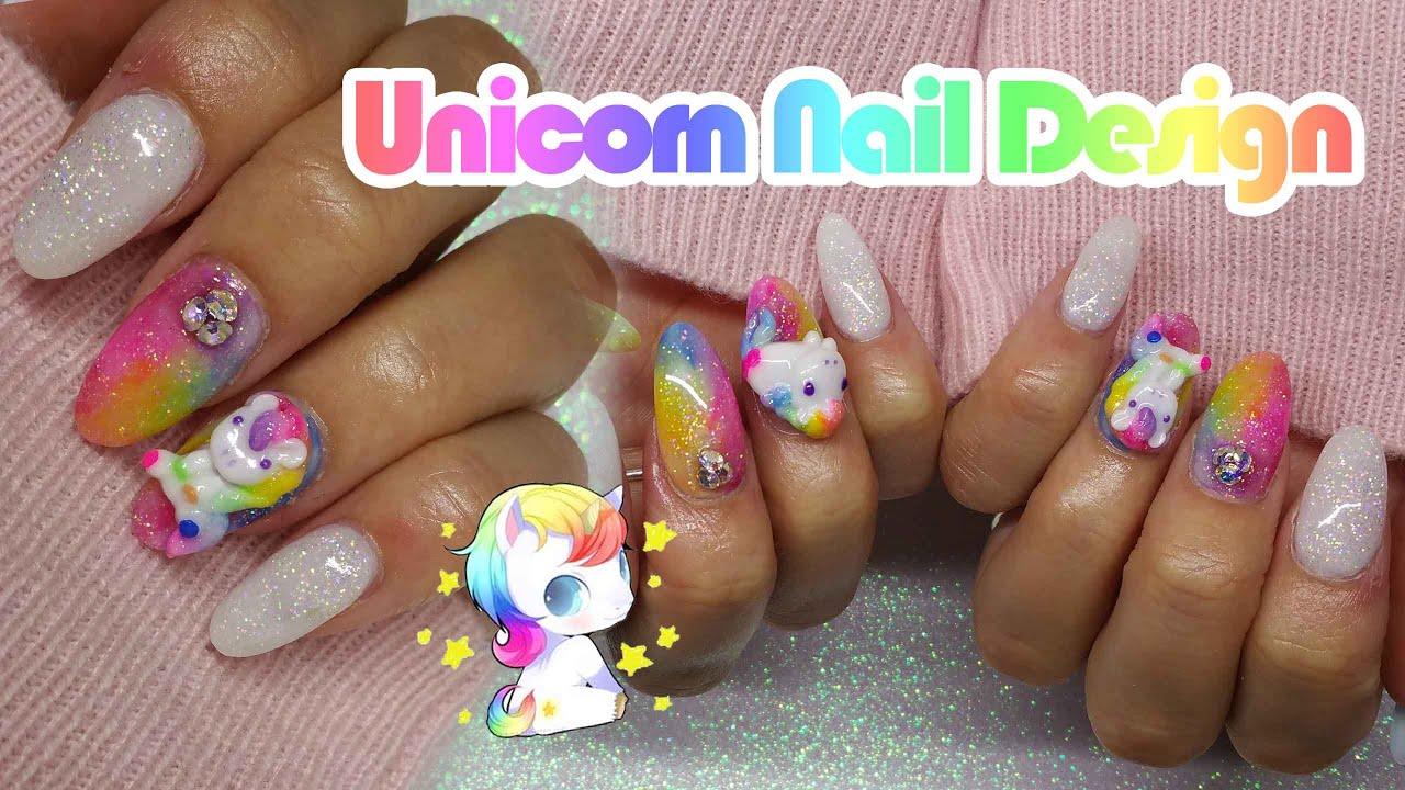 Acrylic Nails | Unicorn nail Design | Rainbow Nails - YouTube