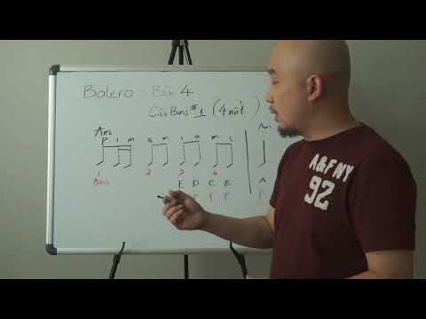 Tự học đệm guitar_Điệu BOLERO bài 4 (Câu chạy bass số 1, tông Am).