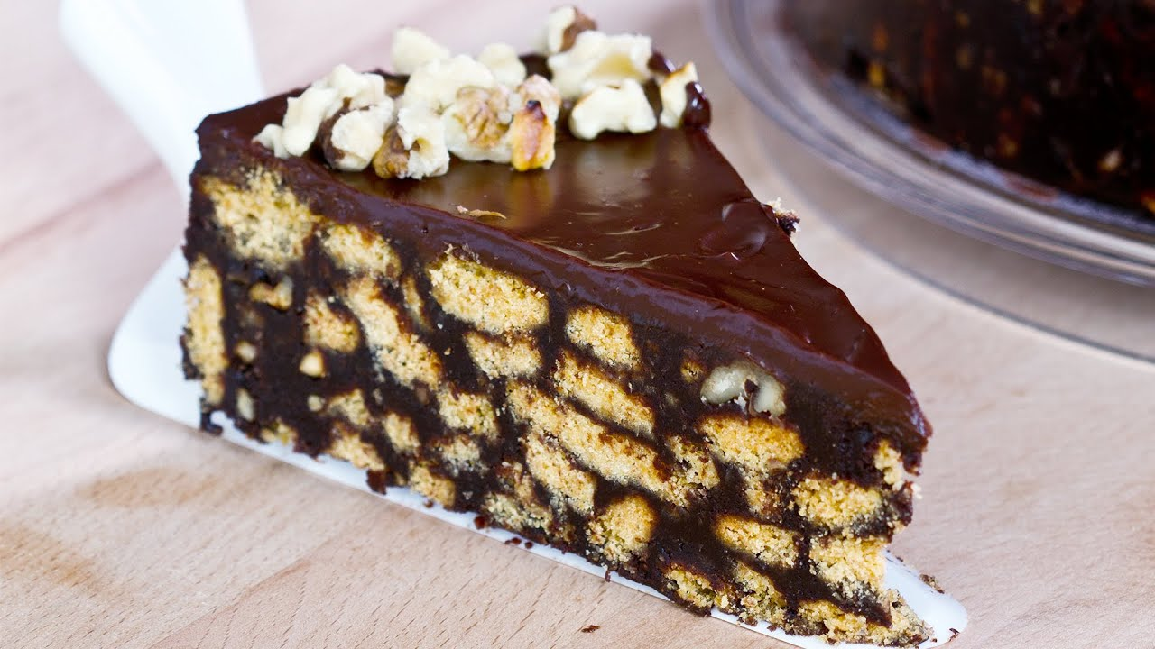 No-Bake Chocolate Biscuit Cake Recipe - YouTube