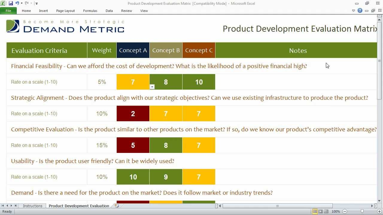 Product Development Evaluation Matrix - YouTube